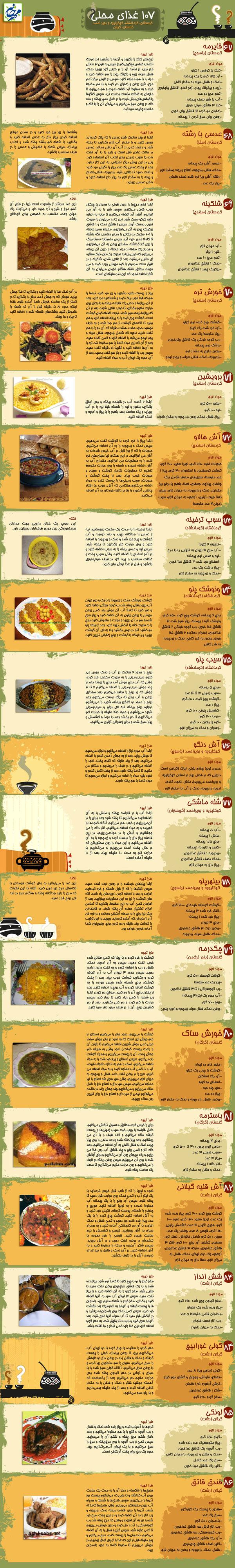 طرز تهیه چند نوع غذای محلی ایرانی