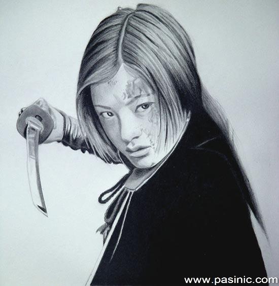 نقاشی های زیبا با سیاه قلم از چهره های آسیایی